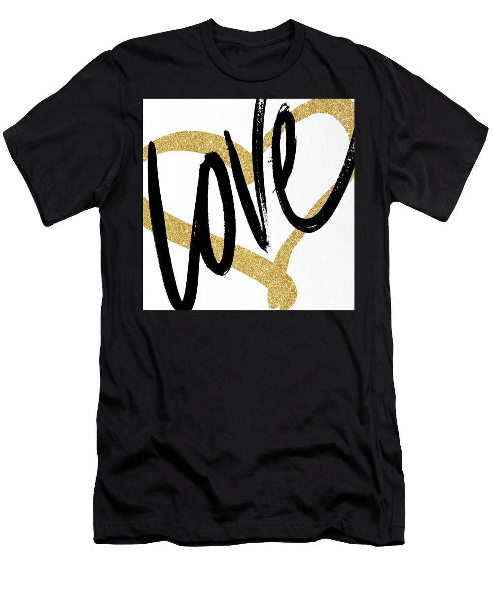 Gold T-Shirt featuring the painting Gold Heart Black Script Love by South Social Studio
