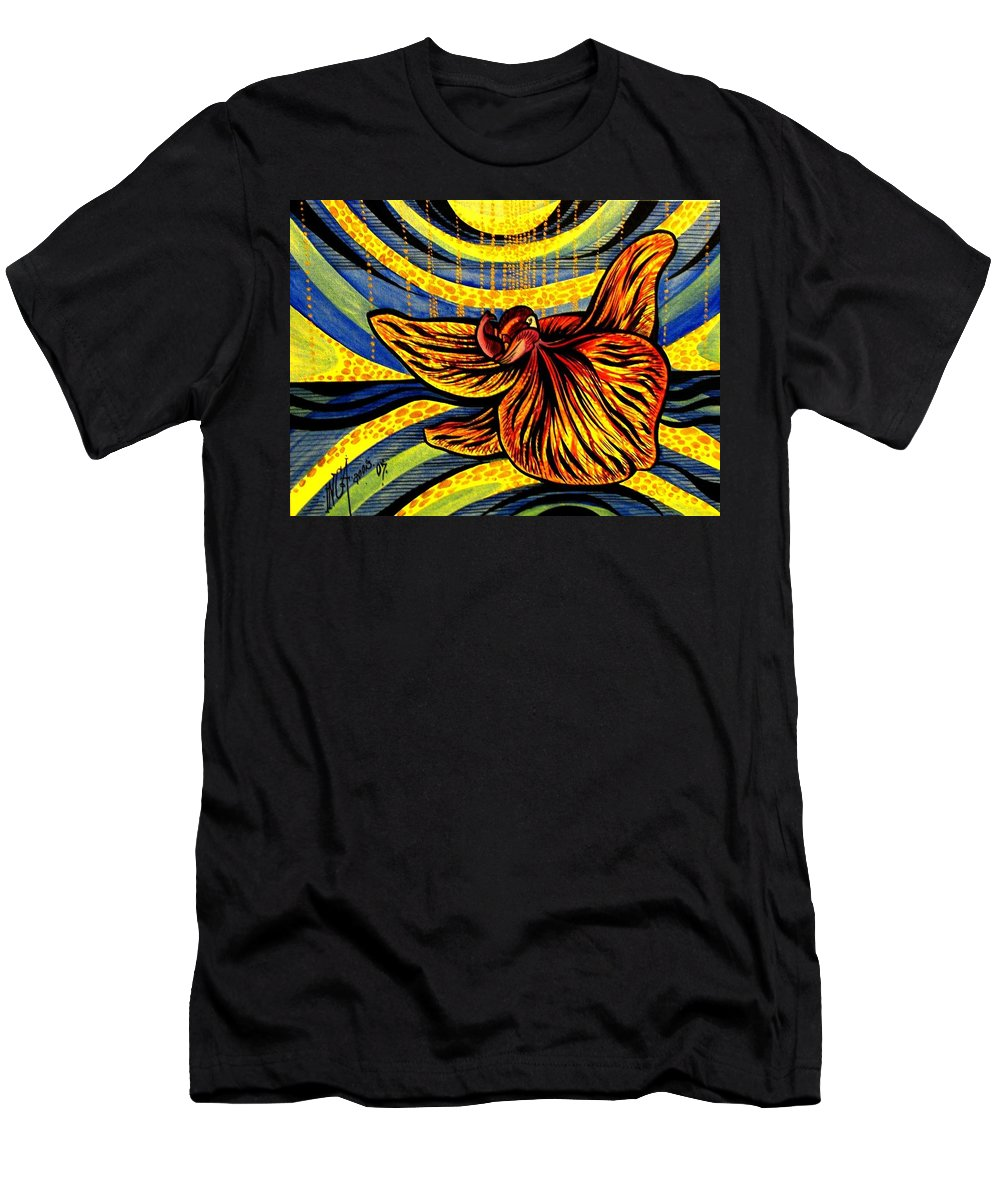 Inga Vereshchagina Men's T-Shirt (Athletic Fit) featuring the painting Gold Orchid by Inga Vereshchagina