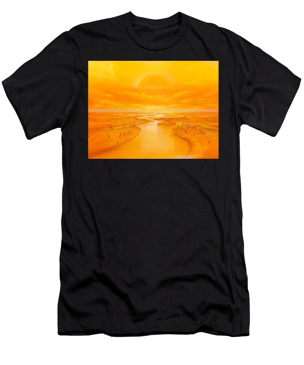 Trees Men's T-Shirt (Athletic Fit) featuring the painting Golden Ages by Silvian Sternhagel