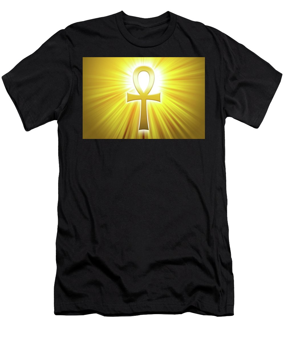 Ankh Men's T-Shirt (Athletic Fit) featuring the digital art Golden Ankh With Sunbeams by Peter Hermes Furian