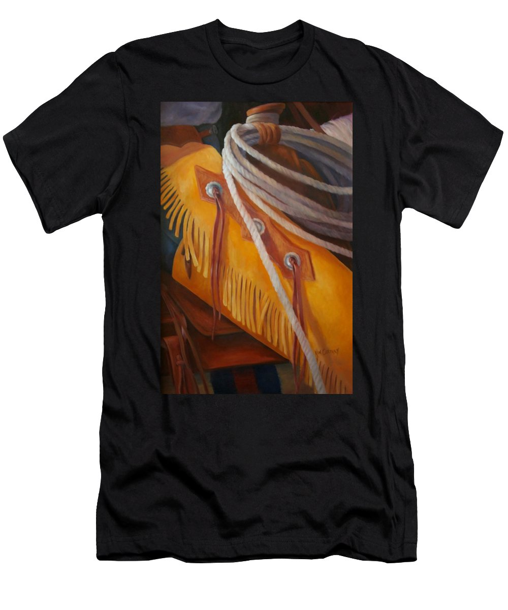 Chaps Men's T-Shirt (Athletic Fit) featuring the painting Golden Armor Buckaroo Art by Kim Corpany