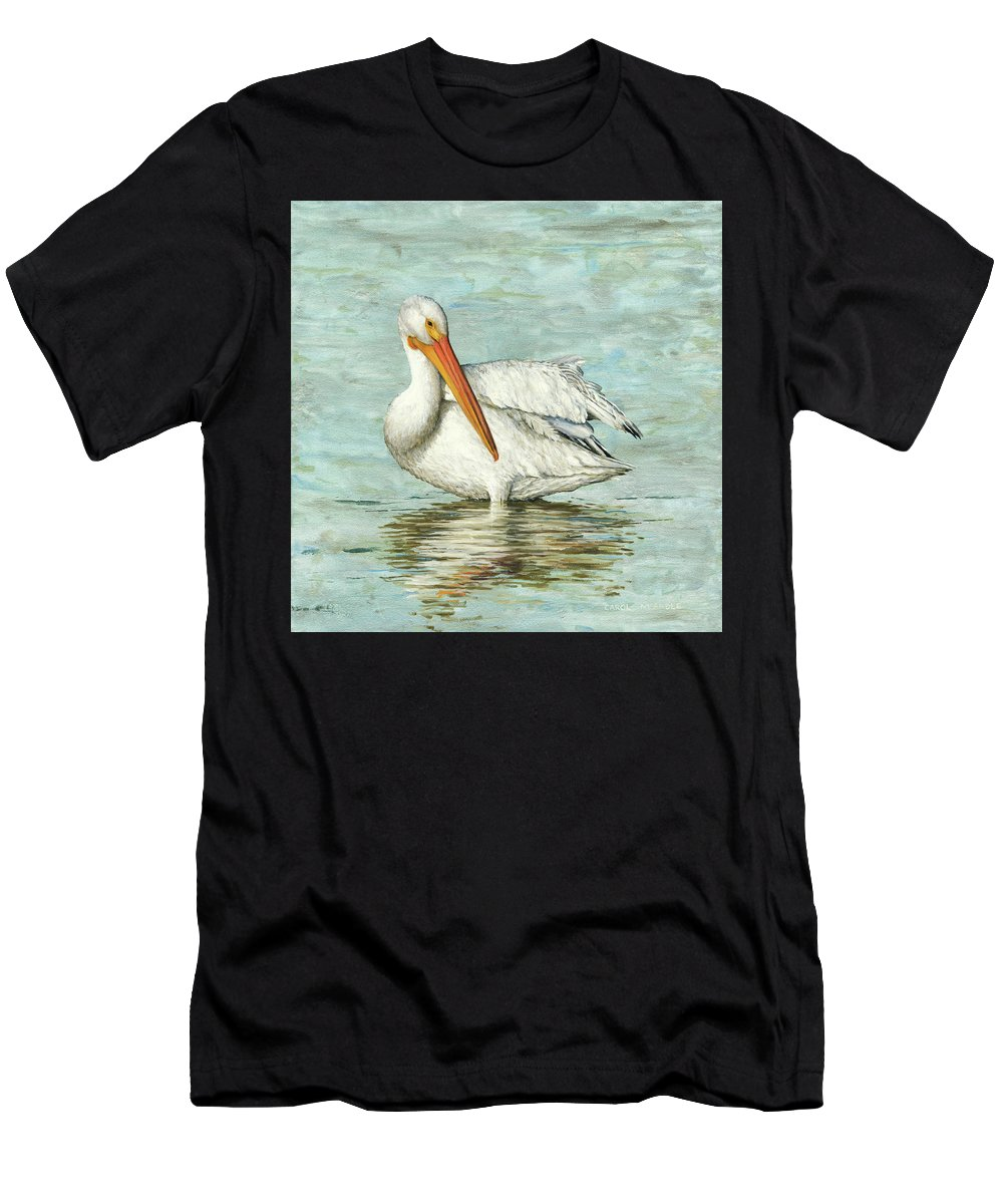 Bird Painting Men's T-Shirt (Athletic Fit) featuring the painting Golden Bill by Carol McArdle