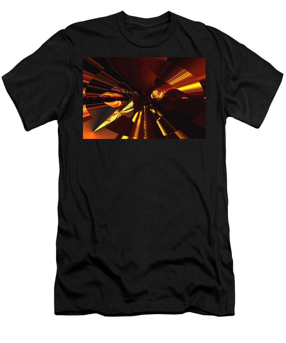 Abstract Men's T-Shirt (Athletic Fit) featuring the digital art Golden Brown Abstract by David Lane