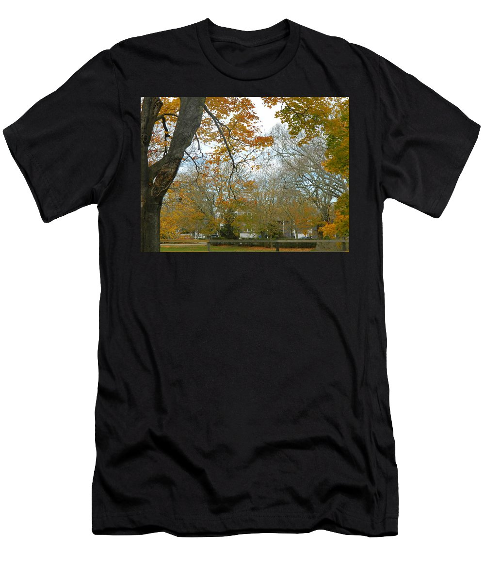 Edgartown Men's T-Shirt (Athletic Fit) featuring the photograph Golden Bus Stop Late Autumn by Kathy Barney
