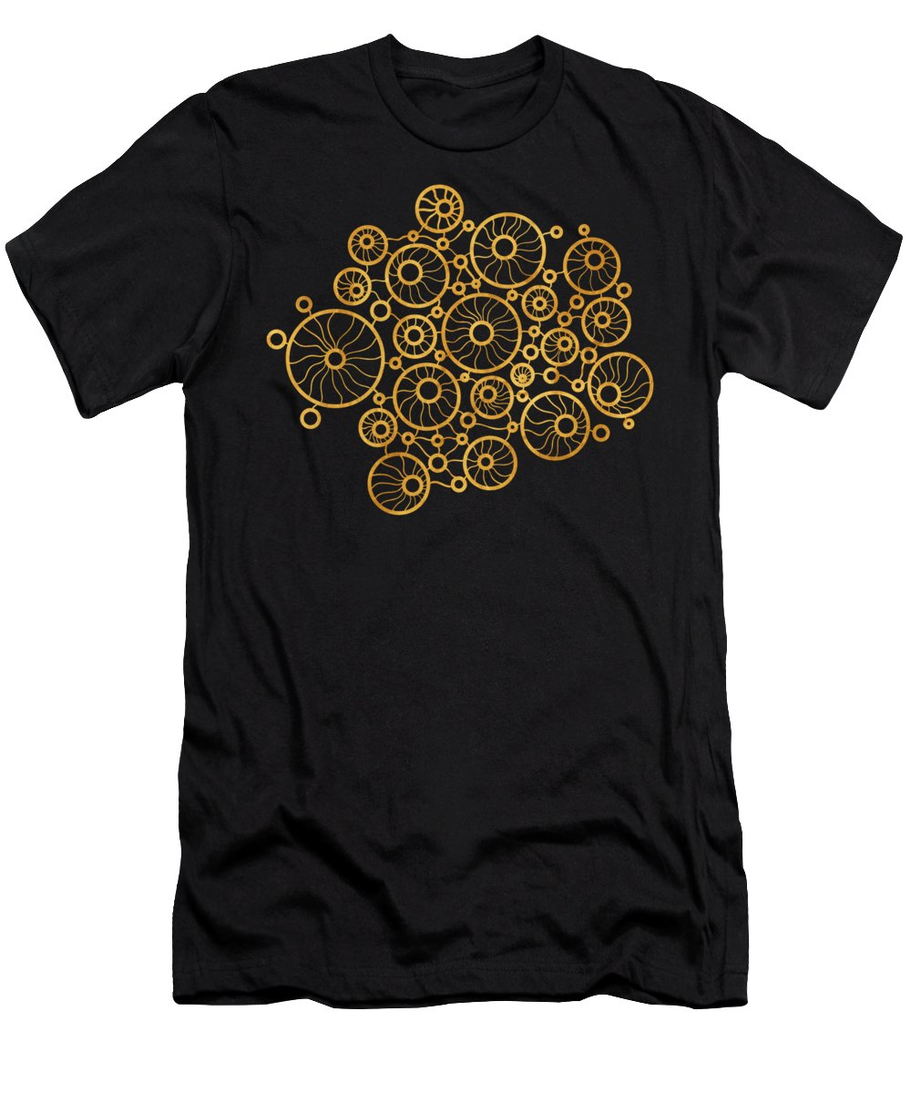 Gold Men's T-Shirt (Athletic Fit) featuring the painting Golden Circles Black by Frank Tschakert