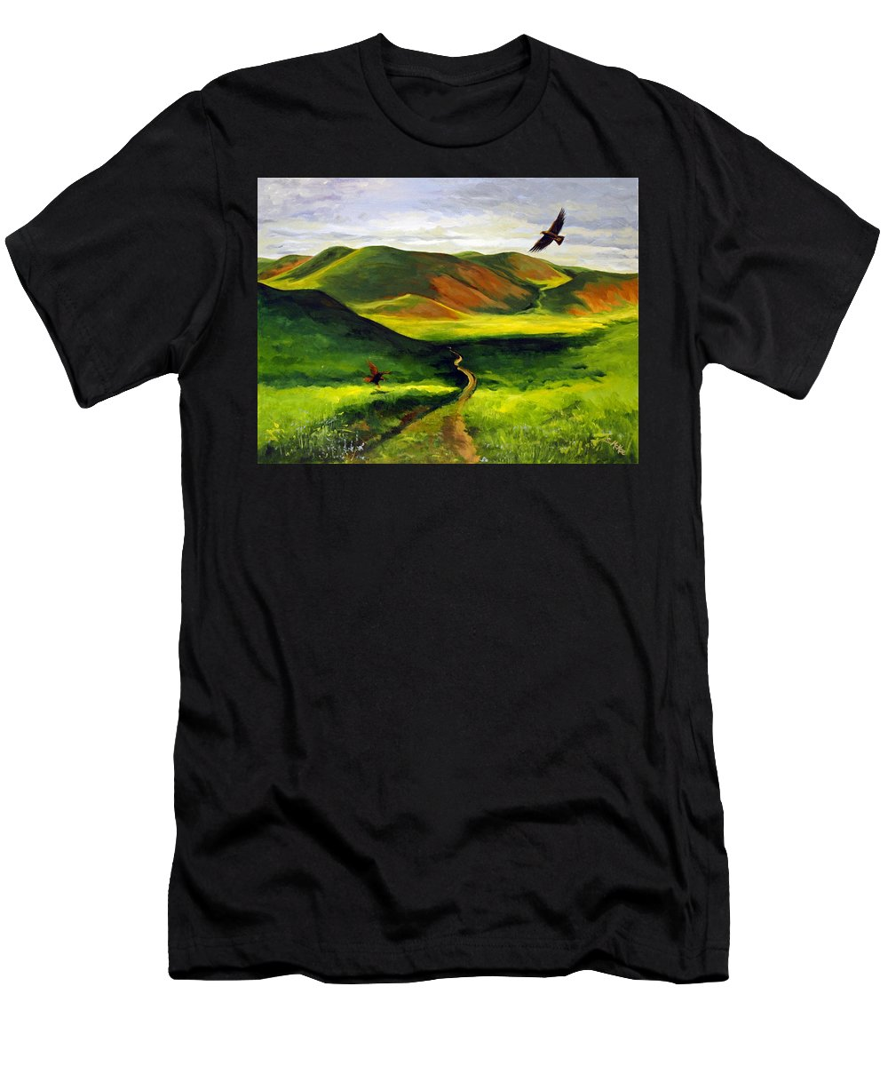 Acrylic Men's T-Shirt (Athletic Fit) featuring the painting Golden Eagles On Green Grassland by Suzanne McKee