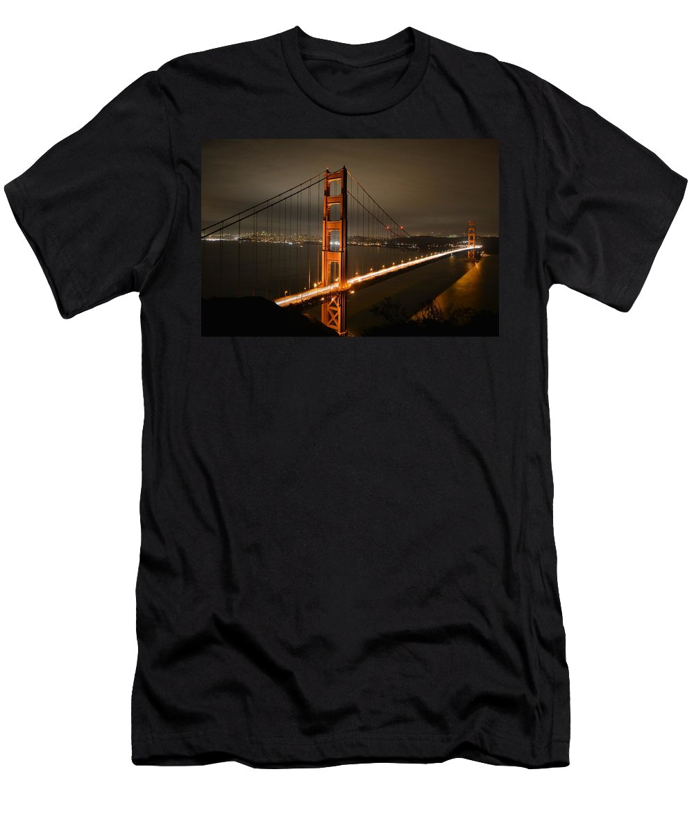 Golden Men's T-Shirt (Athletic Fit) featuring the photograph Golden Gate At Night by Cathy Lovell