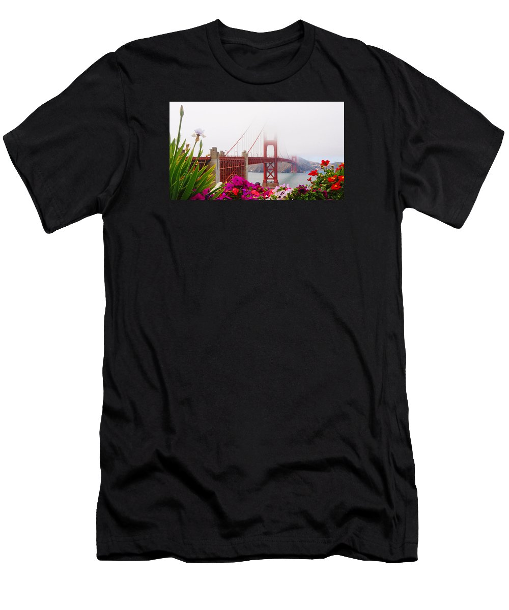 Golden Gate Men's T-Shirt (Athletic Fit) featuring the photograph Golden Gate Bridge Flowers 2 by Lawrence S Richardson Jr