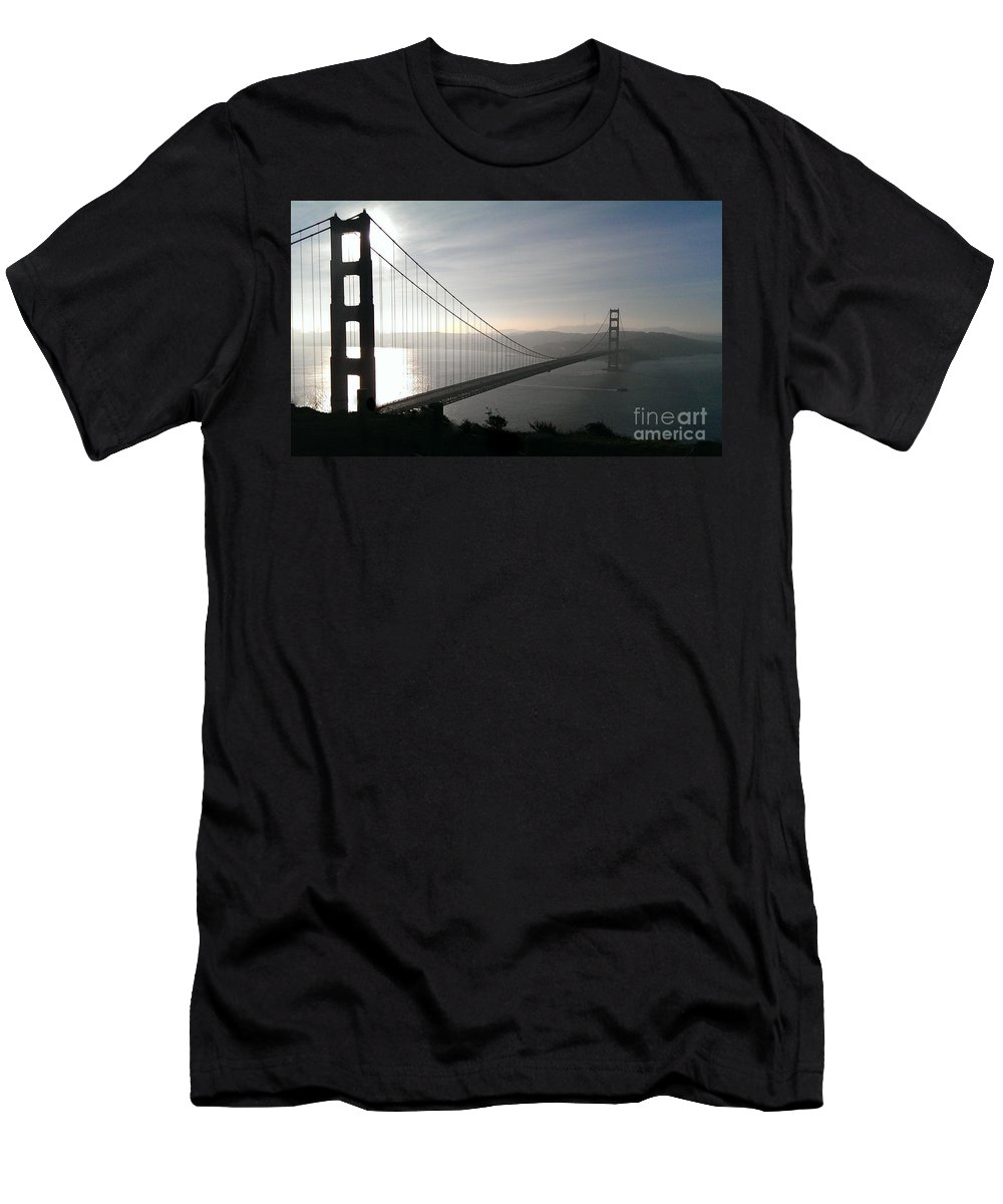 Golden Gate Bridge Men's T-Shirt (Athletic Fit) featuring the photograph Golden Gate Bridge From Marin County by Joy Patzner