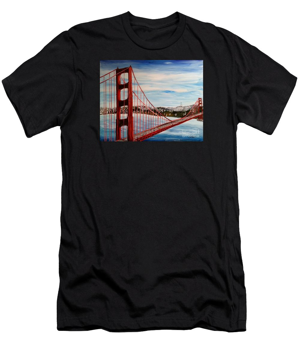 Golden Gate Bridge; Men's T-Shirt (Athletic Fit) featuring the painting Golden Gate Bridge by Irving Starr