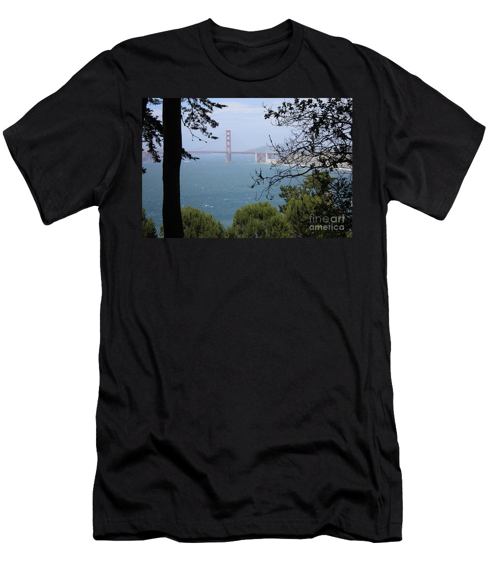 San Fancisco Men's T-Shirt (Athletic Fit) featuring the photograph Golden Gate Bridge Through The Trees by Carol Groenen