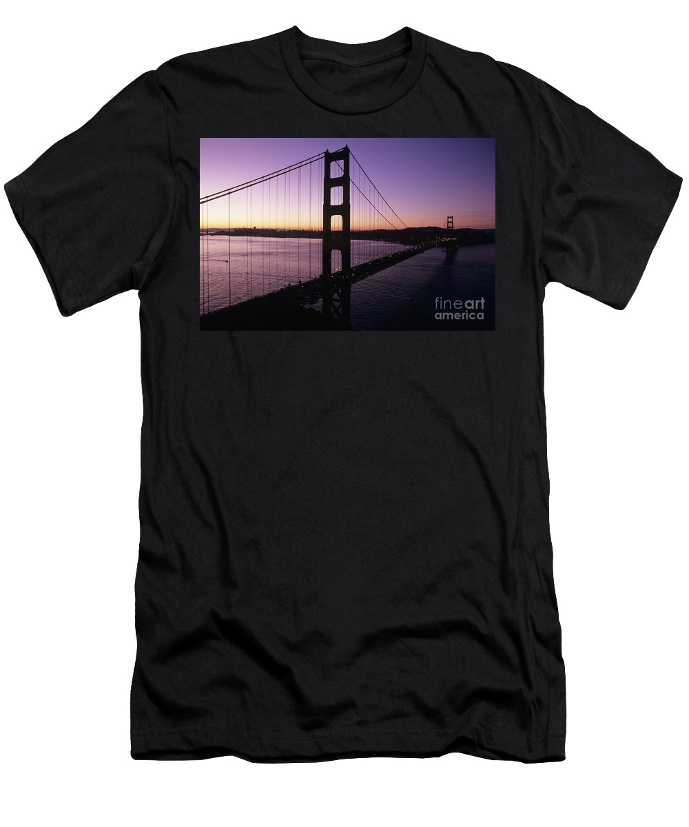 Across Men's T-Shirt (Athletic Fit) featuring the photograph Golden Gate by Larry Dale Gordon - Printscapes