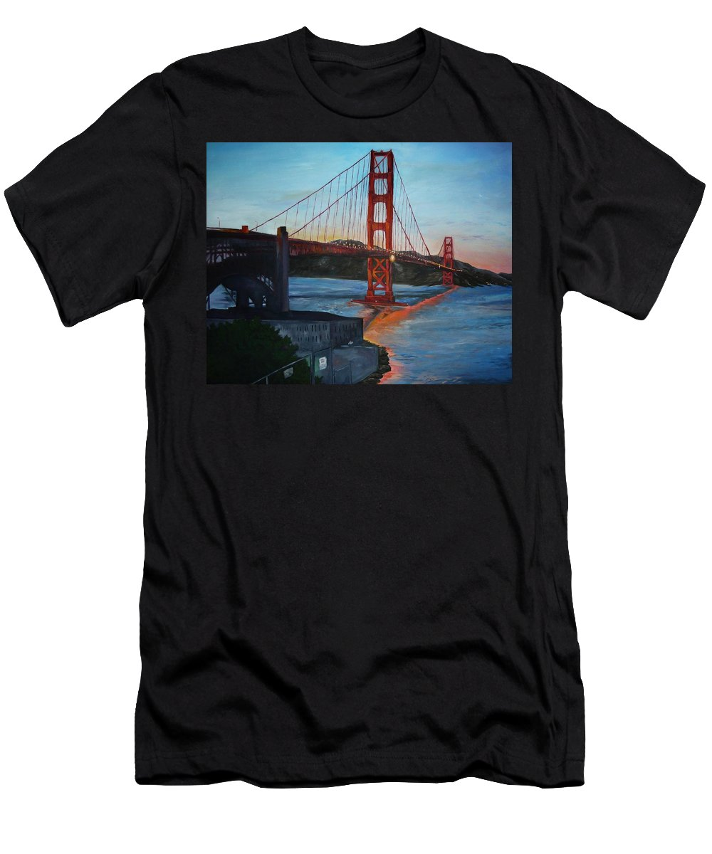 San Francisco Men's T-Shirt (Athletic Fit) featuring the painting Golden Gate by Travis Day