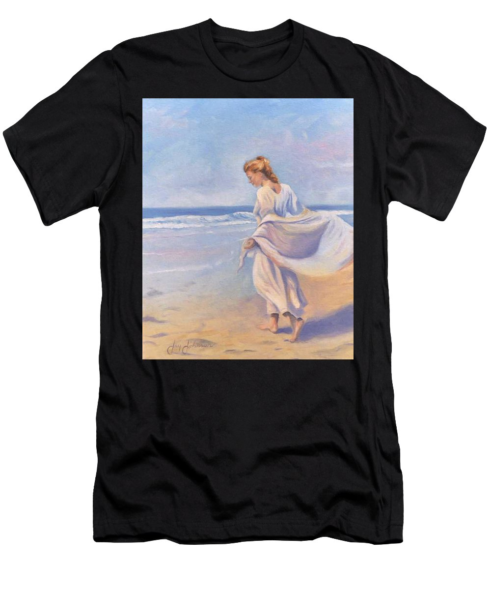 Beach Men's T-Shirt (Athletic Fit) featuring the painting Golden Girls by Jay Johnson