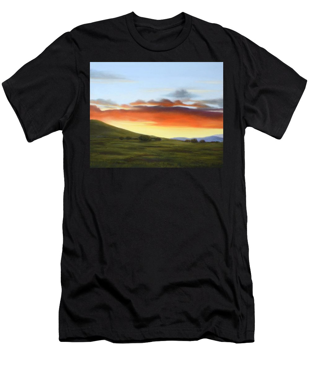 Sunset Painting Men's T-Shirt (Athletic Fit) featuring the painting Golden Glow At Dusk by Xenia Sease