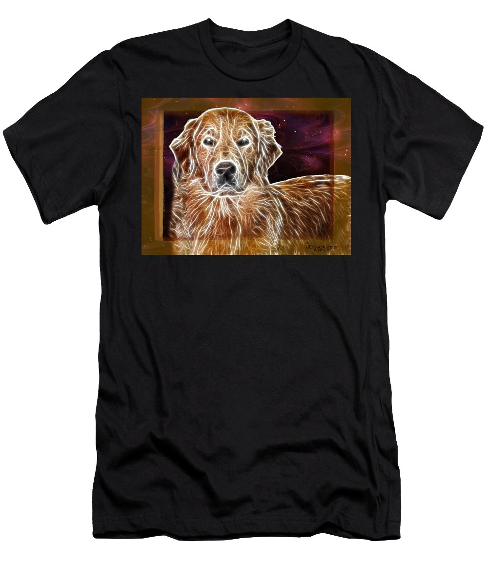 Dog Men's T-Shirt (Athletic Fit) featuring the photograph Golden Glowing Retriever by Ericamaxine Price