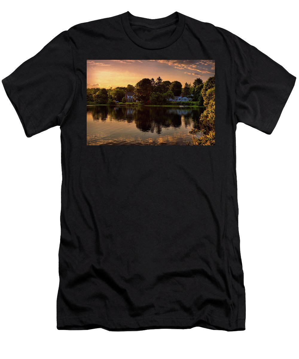 New England Scenery Men's T-Shirt (Athletic Fit) featuring the digital art Golden Hour New England Scenery by Lilia D