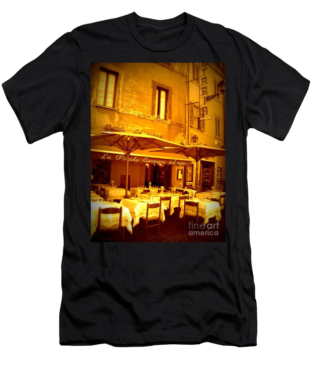 Italy Men's T-Shirt (Athletic Fit) featuring the photograph Golden Italian Cafe by Carol Groenen