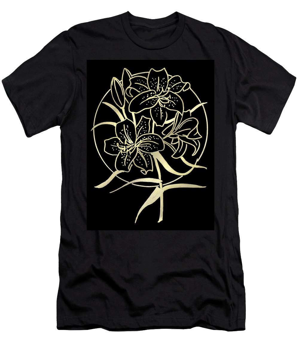 Lily Men's T-Shirt (Athletic Fit) featuring the drawing Golden Lilies by Masha Batkova