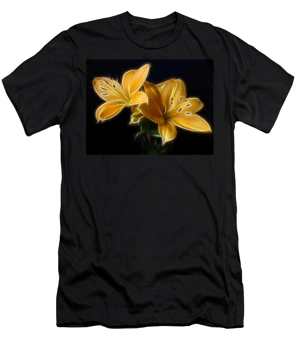 Lilies Men's T-Shirt (Athletic Fit) featuring the digital art Golden Lilies by Sandy Keeton