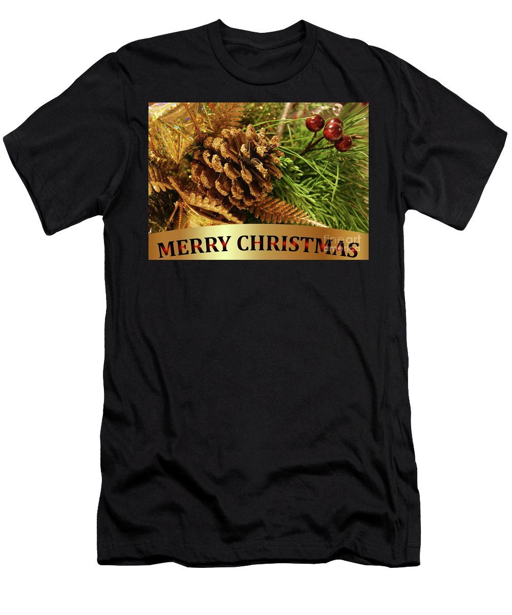 Merry Christmas Men's T-Shirt (Athletic Fit) featuring the photograph Golden Merry Christmas by Olga Hamilton