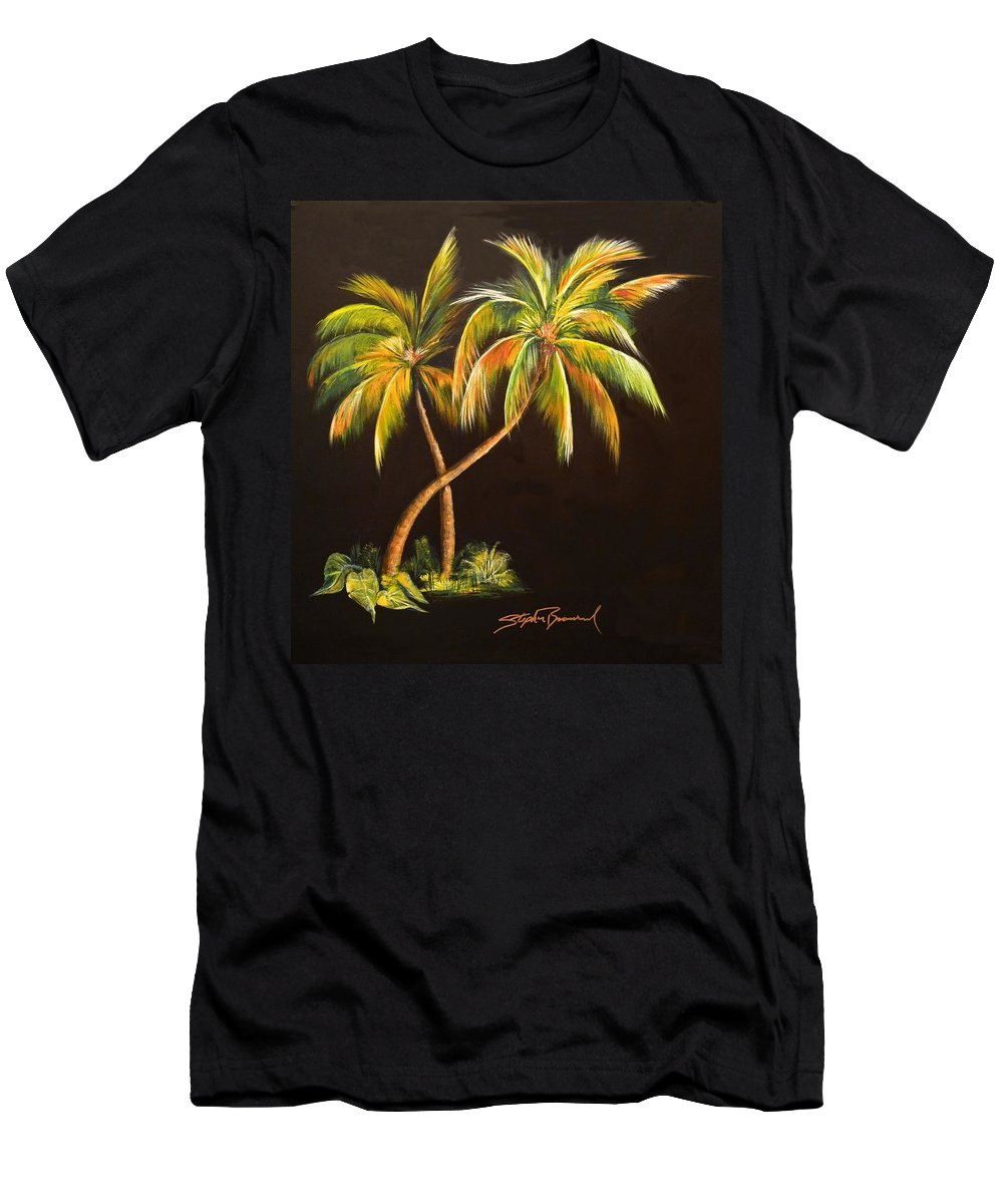 Golden Palm Men's T-Shirt (Athletic Fit) featuring the painting Golden Palms 2 by Stephen Broussard