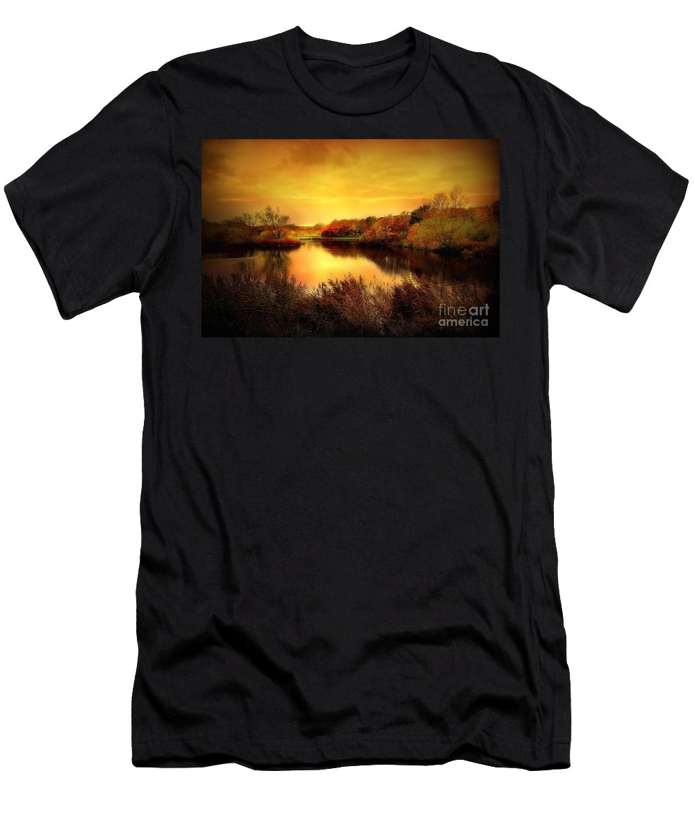 Pond Men's T-Shirt (Athletic Fit) featuring the photograph Golden Pond by Jacky Gerritsen