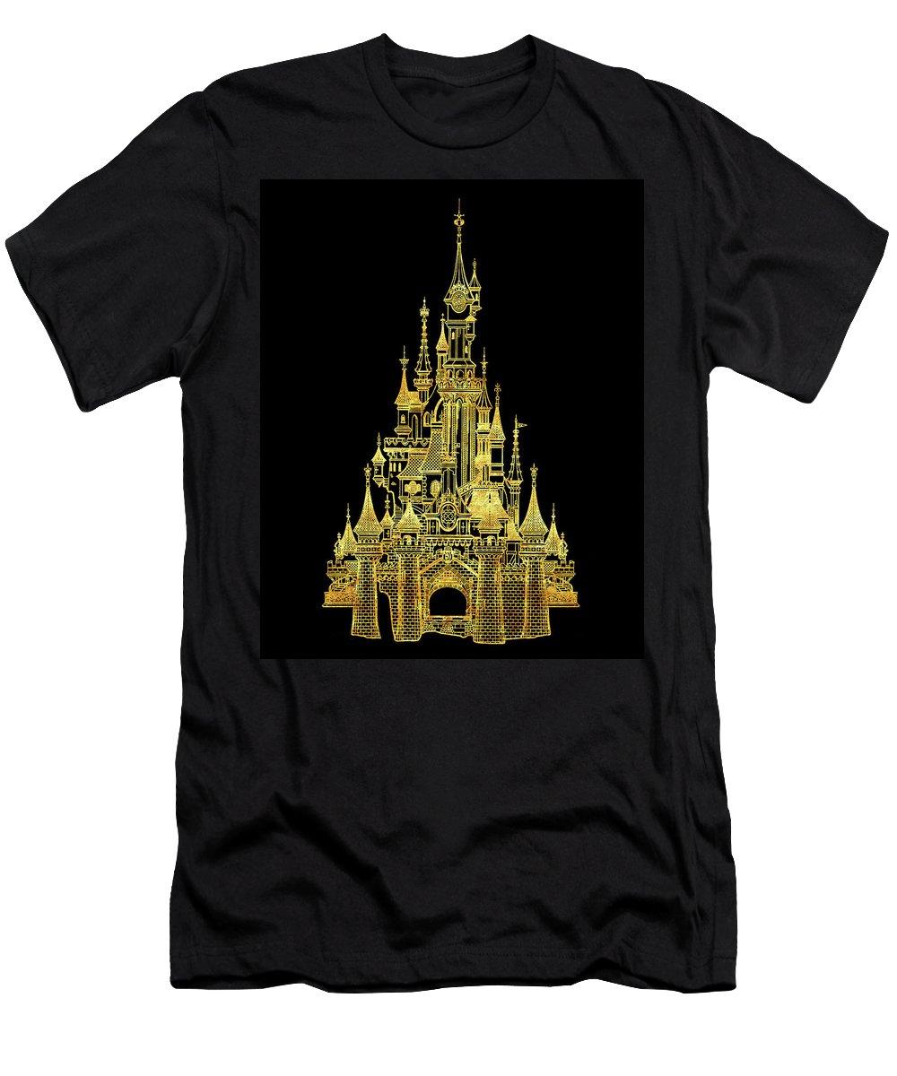 Golden Princess Castle Men's T-Shirt (Athletic Fit) featuring the digital art Golden Princess Fairytale Castle by Safran Fine Art