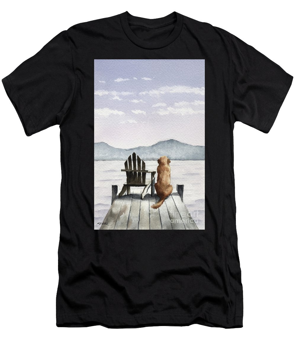 Golden Men's T-Shirt (Athletic Fit) featuring the painting Golden Retriever On The Dock by David Rogers