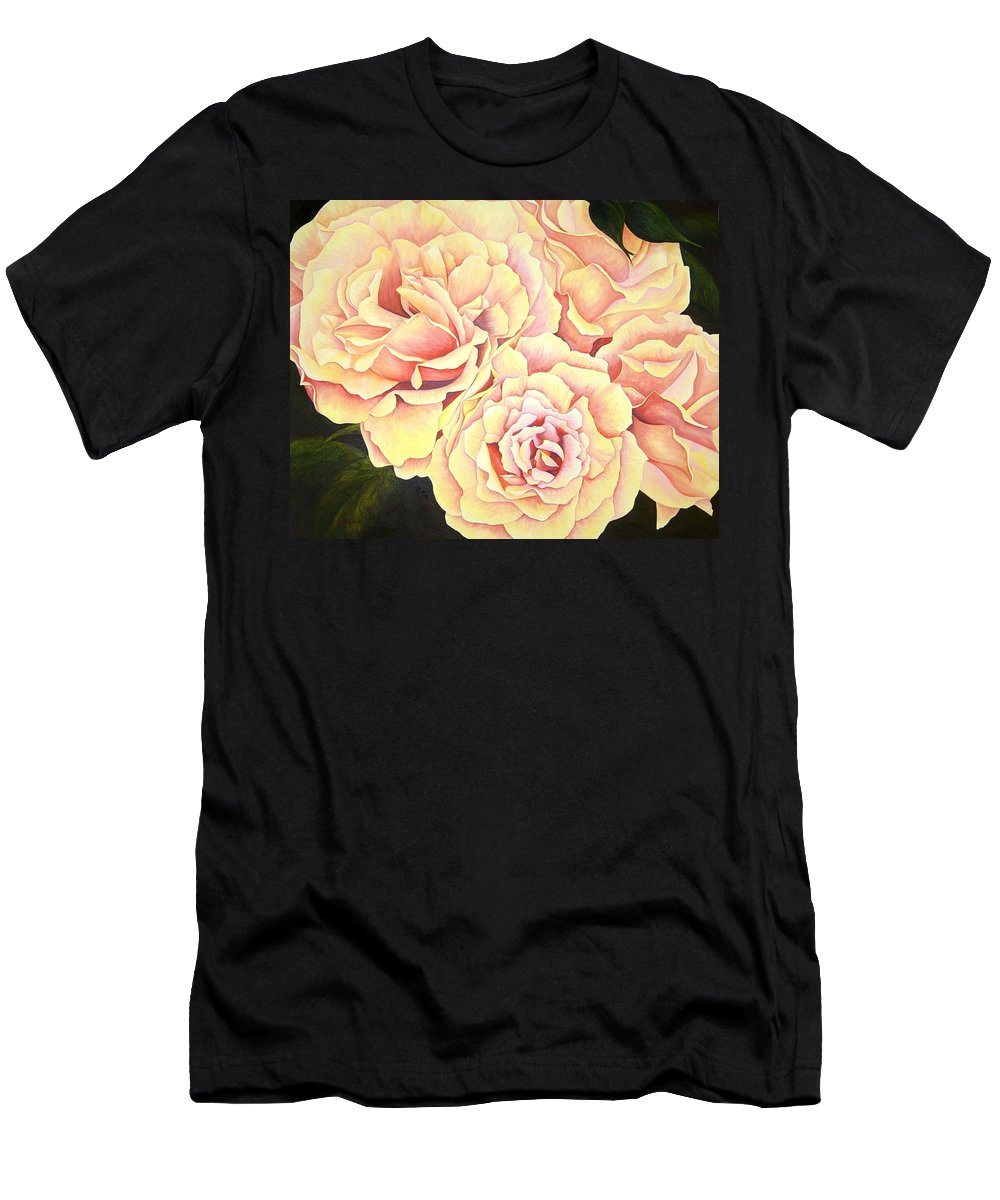Roses Men's T-Shirt (Athletic Fit) featuring the painting Golden Roses by Rowena Finn