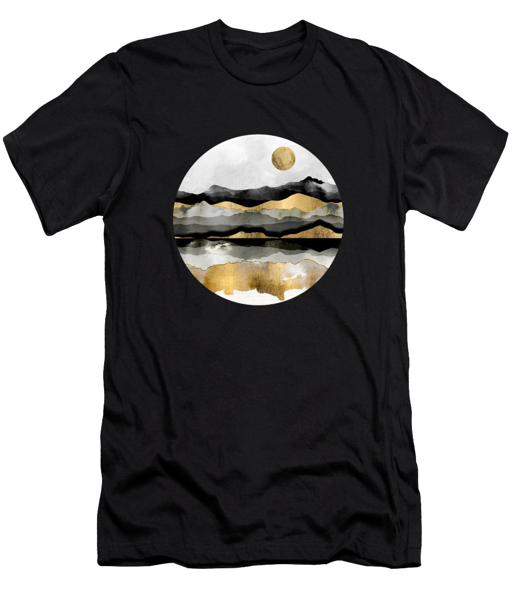 Gold Men's T-Shirt (Athletic Fit) featuring the digital art Golden Spring Moon by Spacefrog Designs