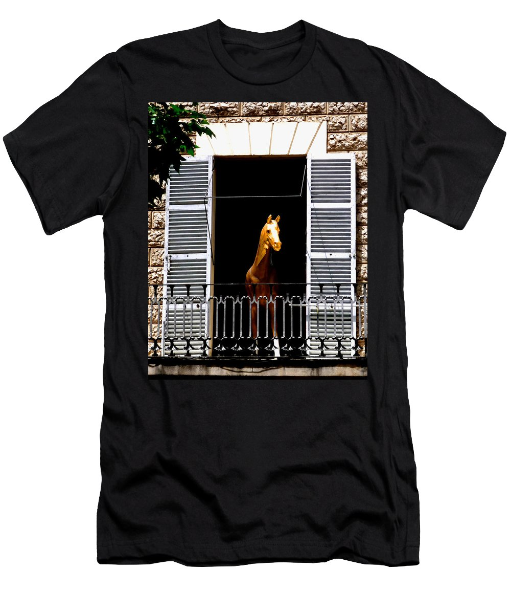 Horse Men's T-Shirt (Athletic Fit) featuring the photograph Golden Stallian by Charles Stuart