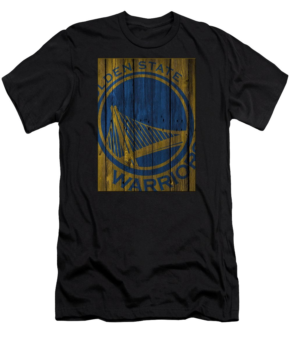 Warriors Men's T-Shirt (Athletic Fit) featuring the photograph Golden State Warriors Wood Fence by Joe Hamilton
