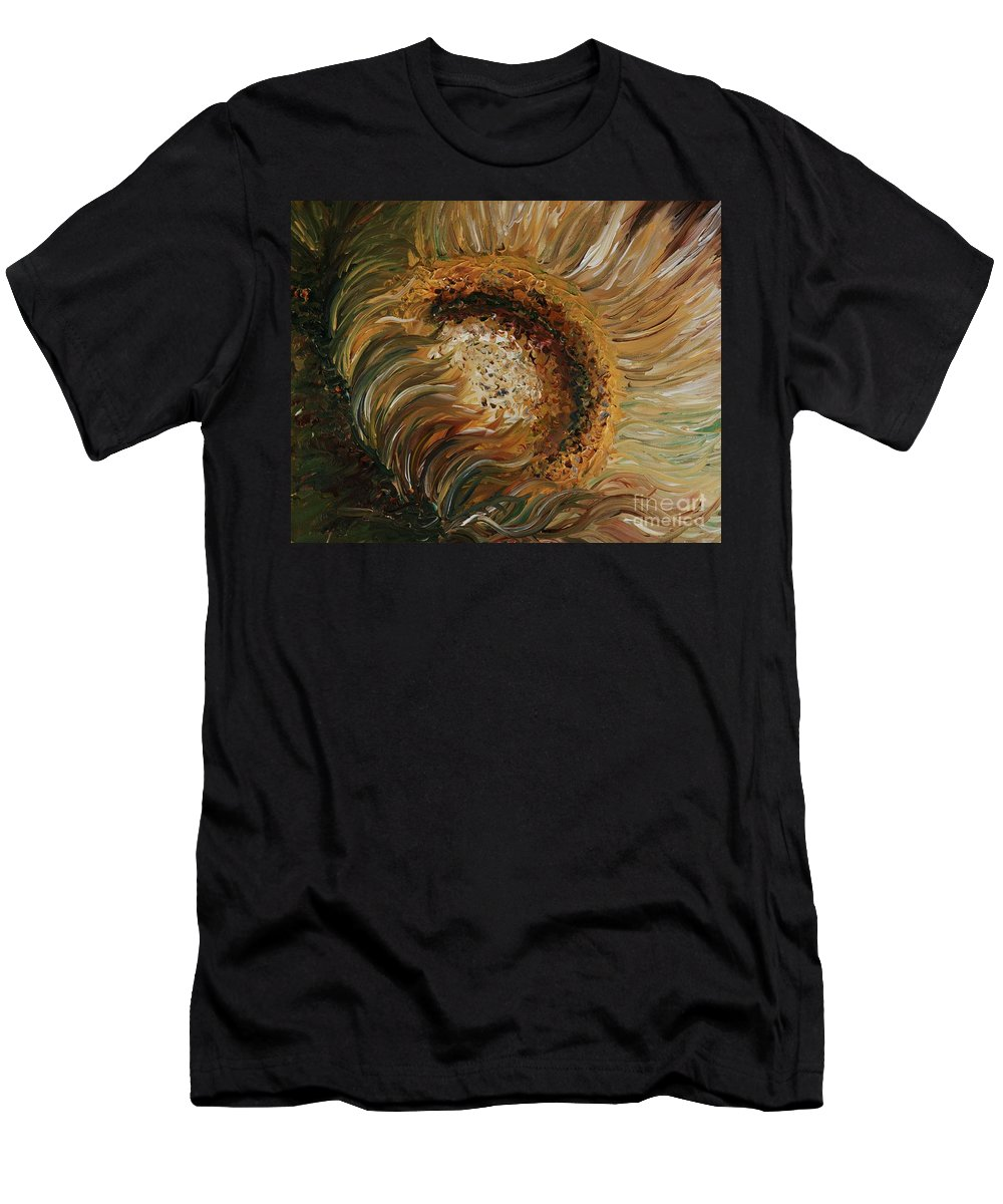 Sunflower T-Shirt featuring the painting Golden Sunflower by Nadine Rippelmeyer