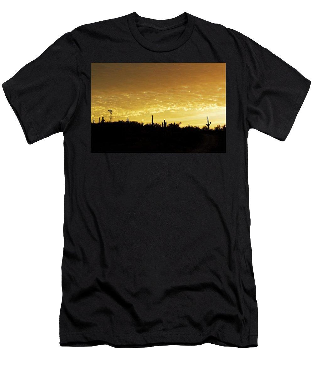 Sunrise Men's T-Shirt (Athletic Fit) featuring the photograph Golden Sunrise by Phyllis Denton