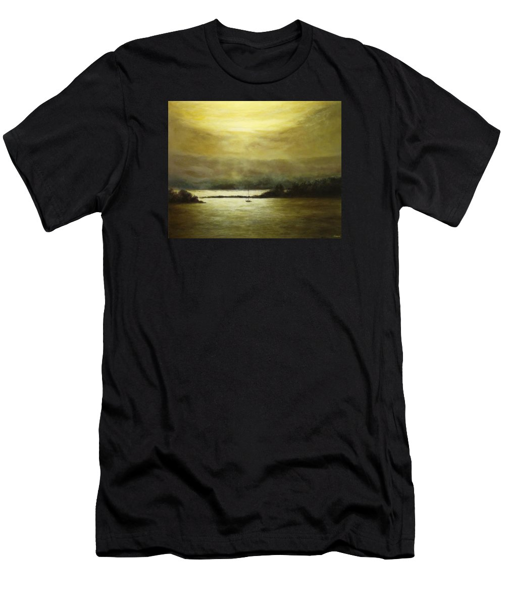 Landscape Men's T-Shirt (Athletic Fit) featuring the painting Golden Sunset II by Musa Musa