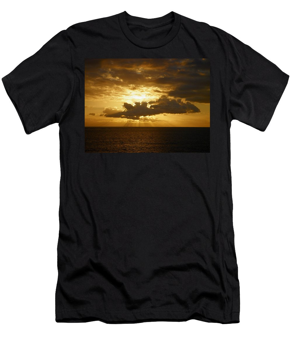 Landscape Men's T-Shirt (Athletic Fit) featuring the photograph Golden Sunset by Jouko Lehto