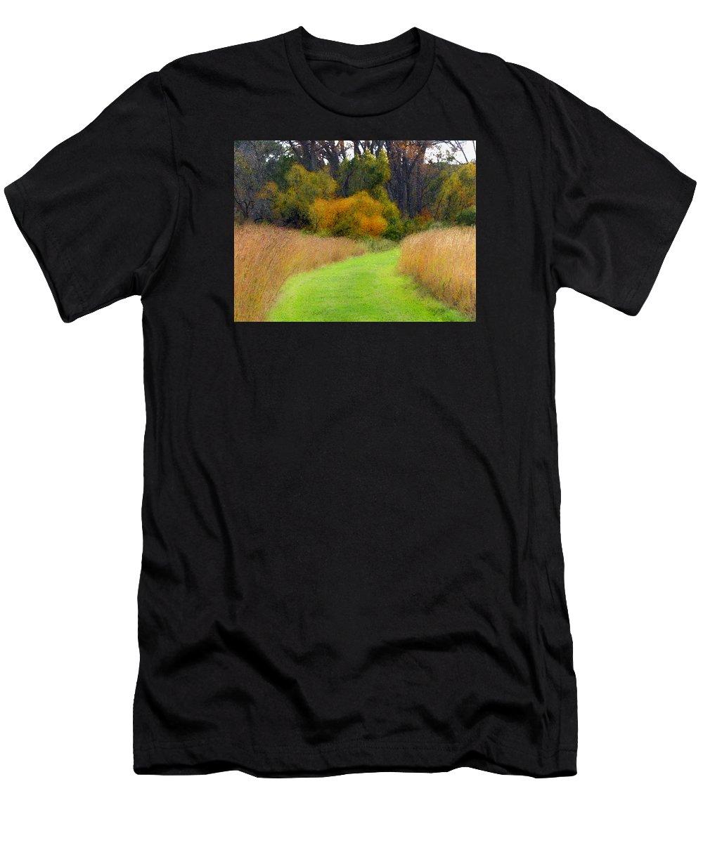 Cedric Hampton Men's T-Shirt (Athletic Fit) featuring the photograph Golden Trail by Cedric Hampton