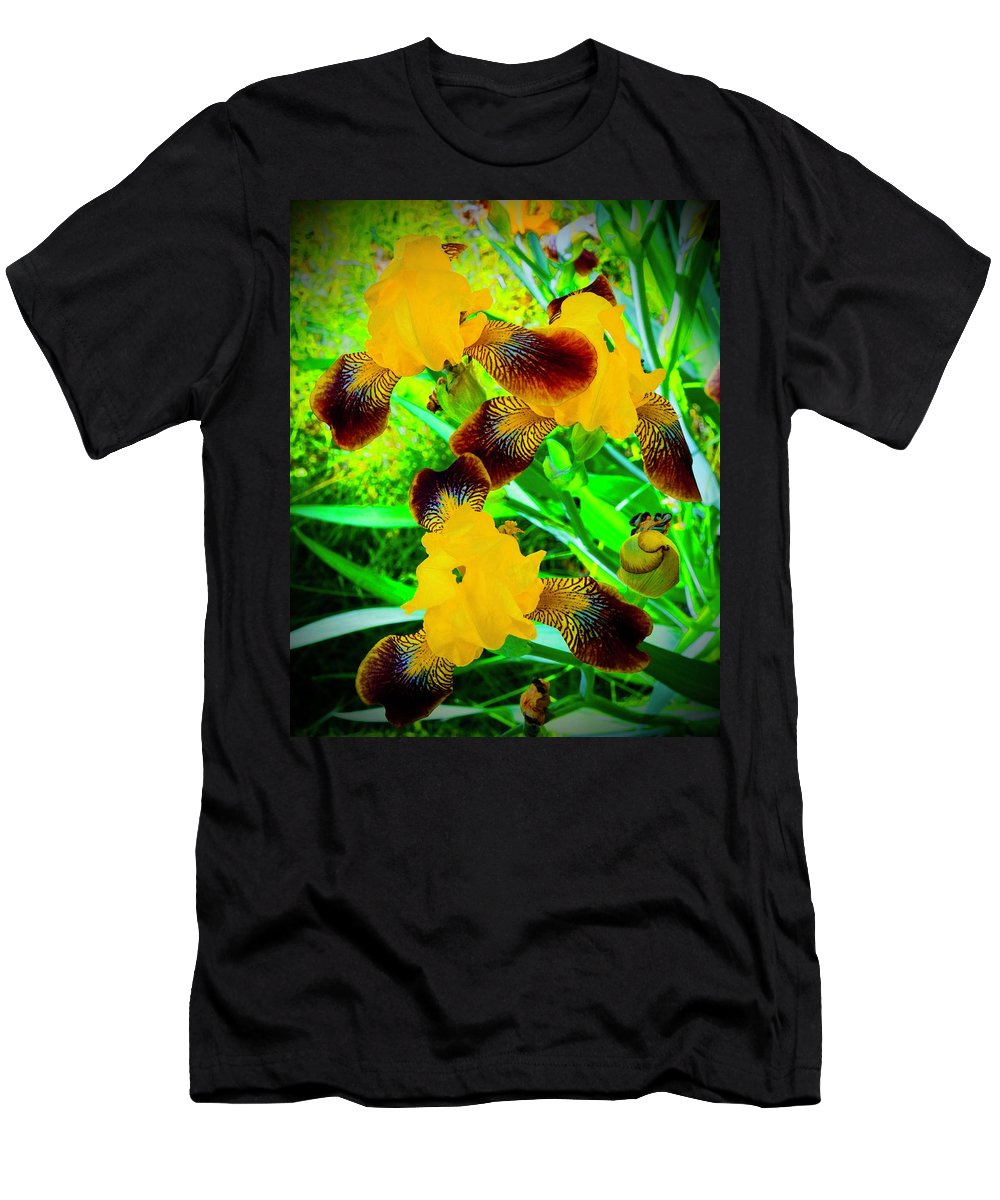 Iris Men's T-Shirt (Athletic Fit) featuring the photograph Golden Trio Of Iris by Tim G Ross