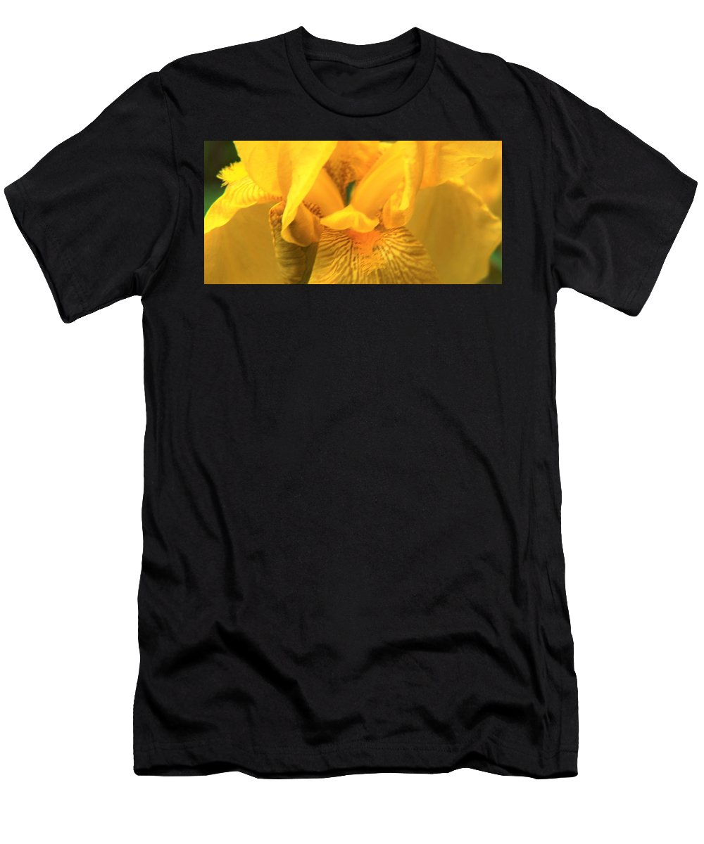 Iris Men's T-Shirt (Athletic Fit) featuring the photograph Golden Yellow Iris by Marilyn Alexander