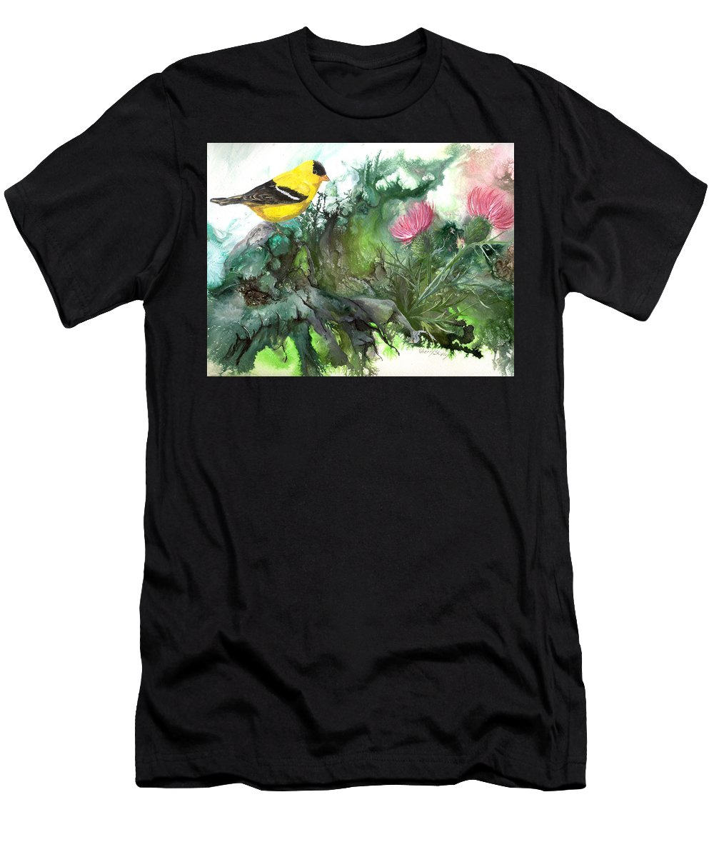 Bird Men's T-Shirt (Athletic Fit) featuring the painting Goldfinch by Sherry Shipley