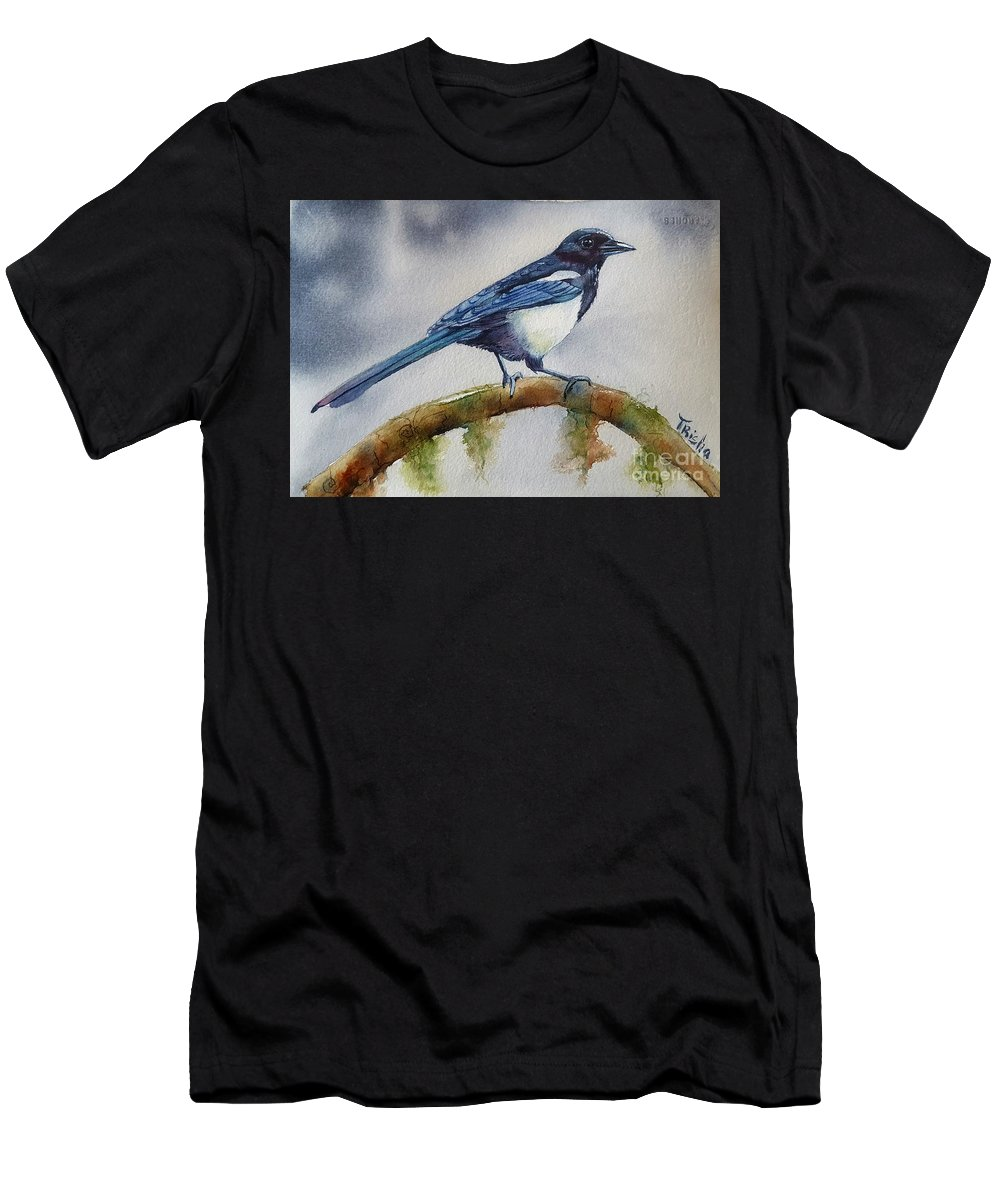 Magpie Painting Men's T-Shirt (Athletic Fit) featuring the painting Goldigger by Patricia Pushaw