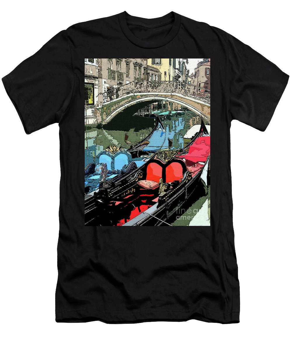 Gondola Men's T-Shirt (Athletic Fit) featuring the photograph Gondolas Fresco by Mindy Newman