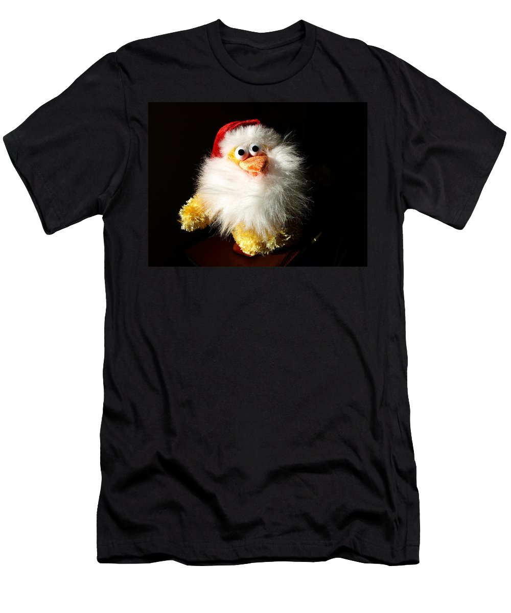 Evil; Good; Chicken; Bird; Stuffed; Animal; Fowl; Christmas; Beard; Hat; Bad; Sunshine; Barnyard; Du Men's T-Shirt (Athletic Fit) featuring the photograph Good Chicken by Allan Hughes