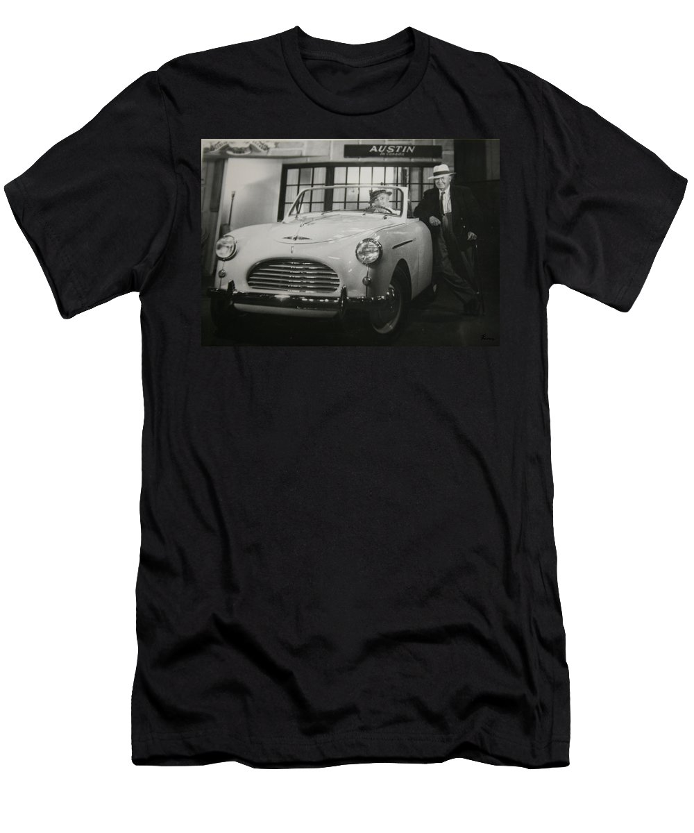 Men Man Classic Car Austin Car Show Black And White Photograph Men's T-Shirt (Athletic Fit) featuring the photograph Good Fellas by Andrea Lawrence