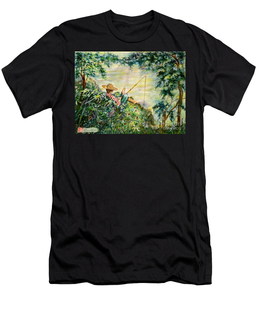 Landscape Men's T-Shirt (Athletic Fit) featuring the painting Good Fishing by Norma Boeckler