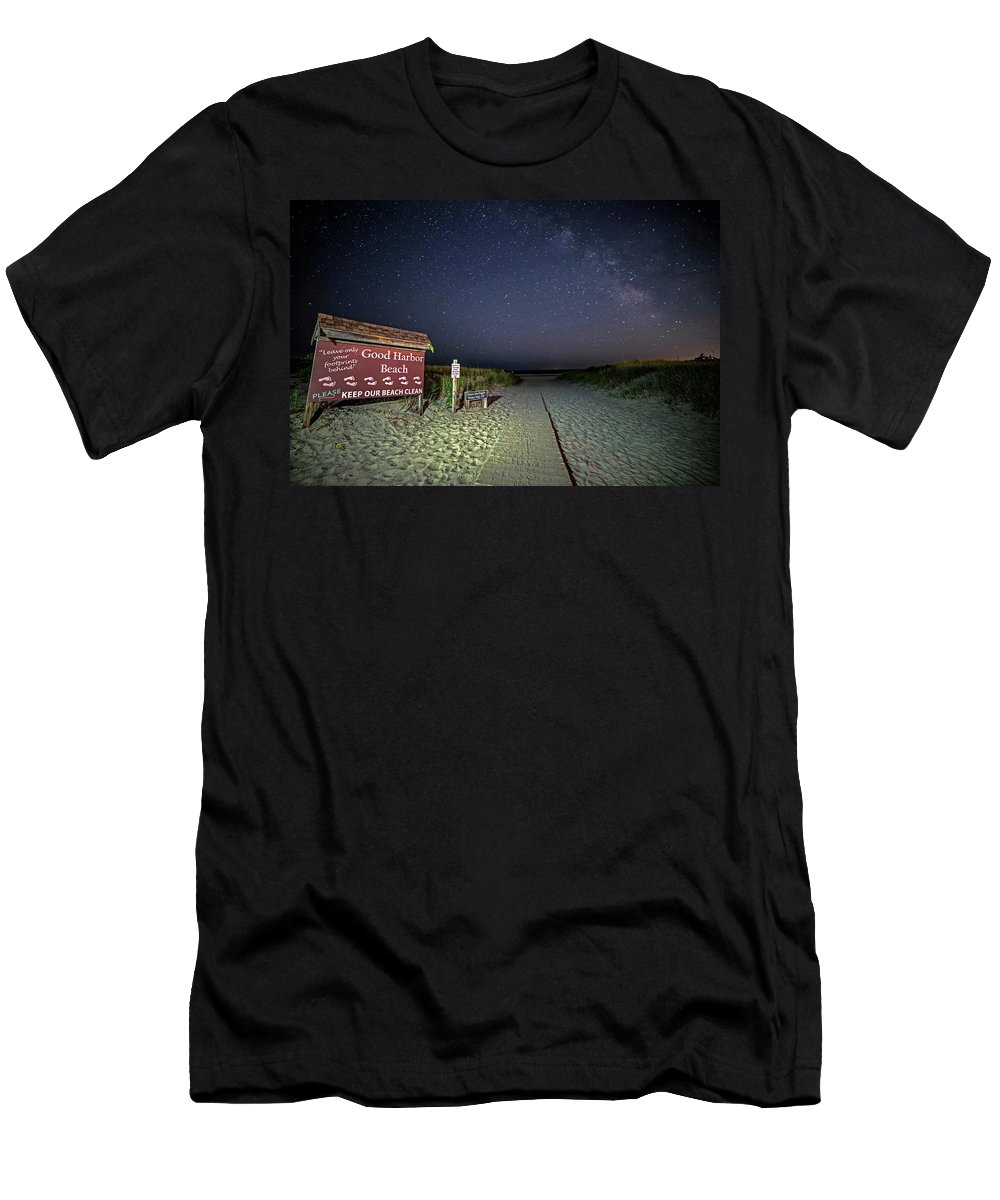 Good Harbor Beach Men's T-Shirt (Athletic Fit) featuring the photograph Good Harbor Beach Sign Under The Stars And Milky Way by Toby McGuire