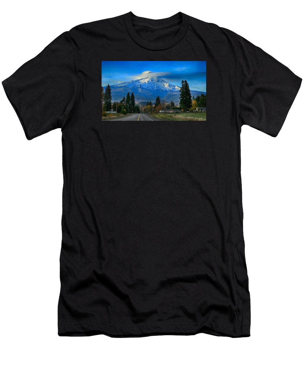 Good Morning Mount Hood Men's T-Shirt (Athletic Fit) featuring the photograph Good Morning Mount Hood by Lynn Hopwood