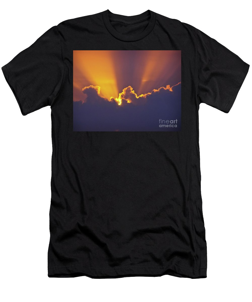 Crepuscular Ray Men's T-Shirt (Athletic Fit) featuring the photograph Good Night Sunshine by Terri Waters