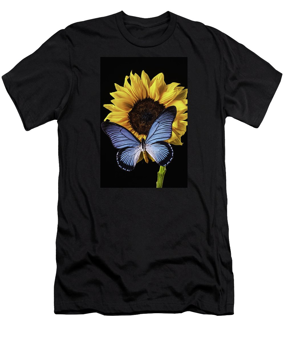 Vertical Men's T-Shirt (Athletic Fit) featuring the photograph Gorgeous Blue Butterfly by Garry Gay